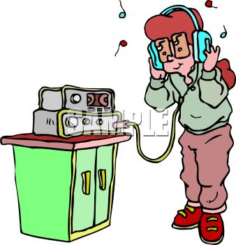 Royalty Free Clipart Image: Girl Wearing Stereo Headphones.