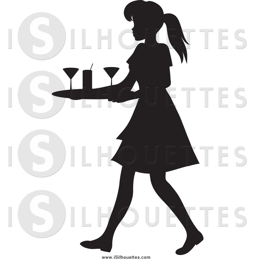 Clipart of a Black Silhouetted Waitress Woman Tidying up Cocktail.