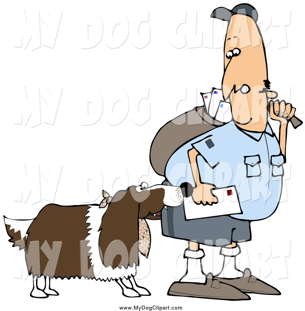 Clip Art of a Springer Spaniel Dog Biting a White Mailman by djart.