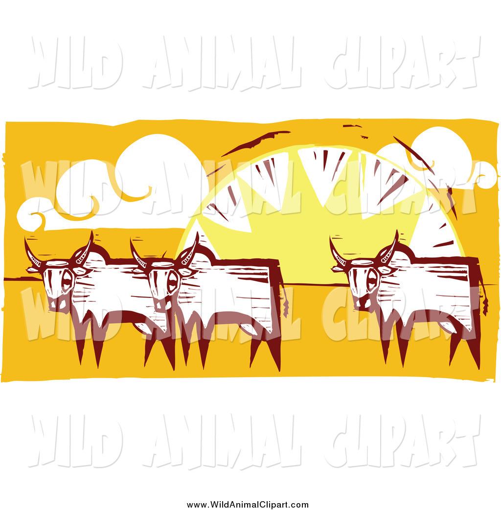 Clip Art of Oxen Against a Sunset by xunantunich.