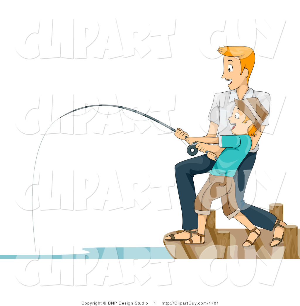 Vector Clip Art of a Man Helping His Son Reel in a Big Fish.