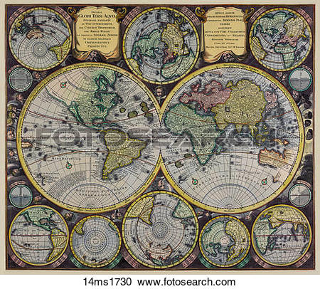 Stock Illustrations of Antique World Map ( hand.