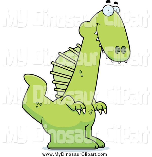 Clipart of a Happy Green Spinosaurus Dinosaur by Cory Thoman.