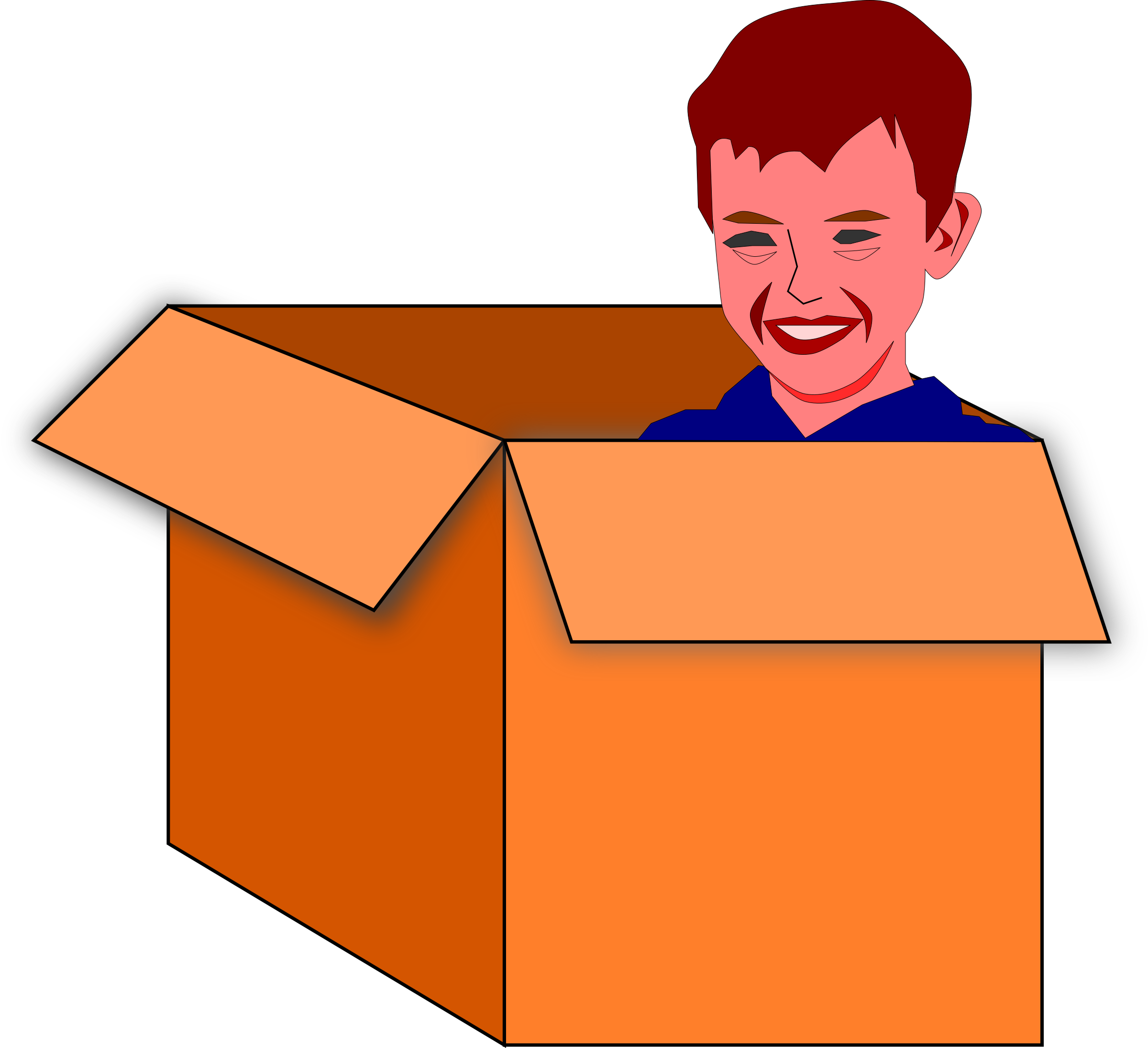 Child in a box vector clipart.