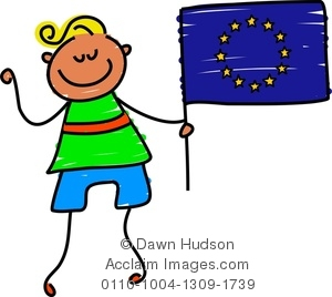 Clipart Illustration of Little Boy Holding A European Flag.