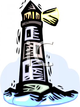 Clip Art Illustration of a Lighthouse On the Ocean.