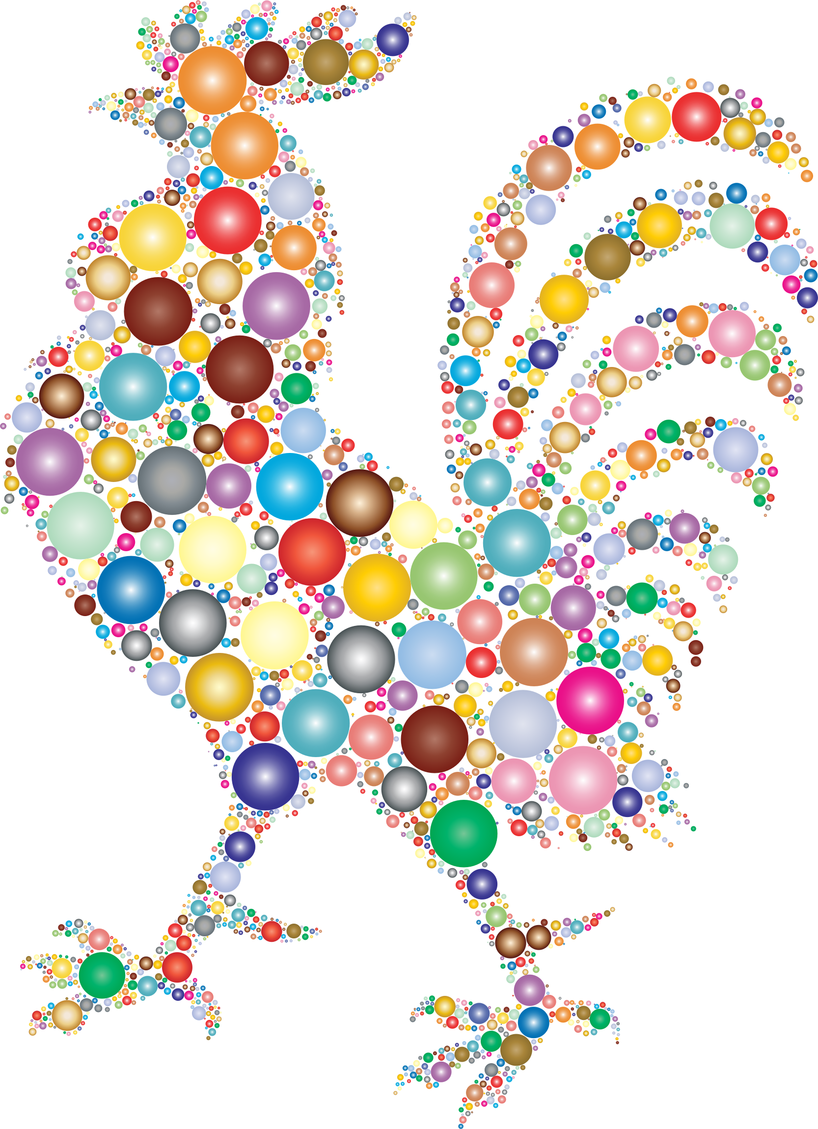 Rooster made from Colorful Orbs vector clipart.