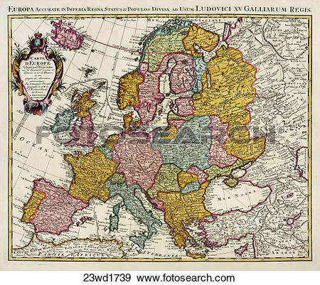Stock Illustration of Antique Map of Europe (hand.
