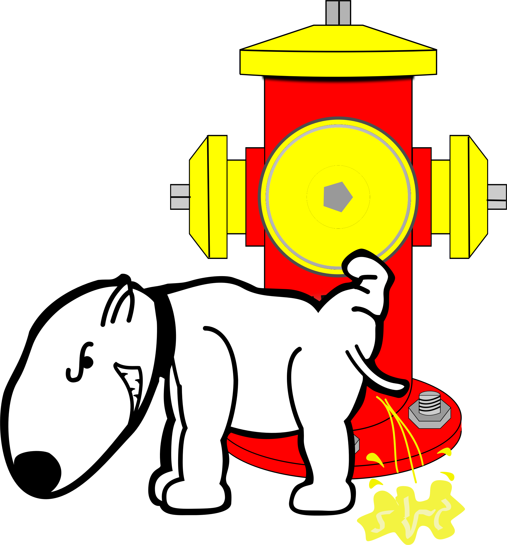 Dog Peeing on Fire Hydrant vector clipart.