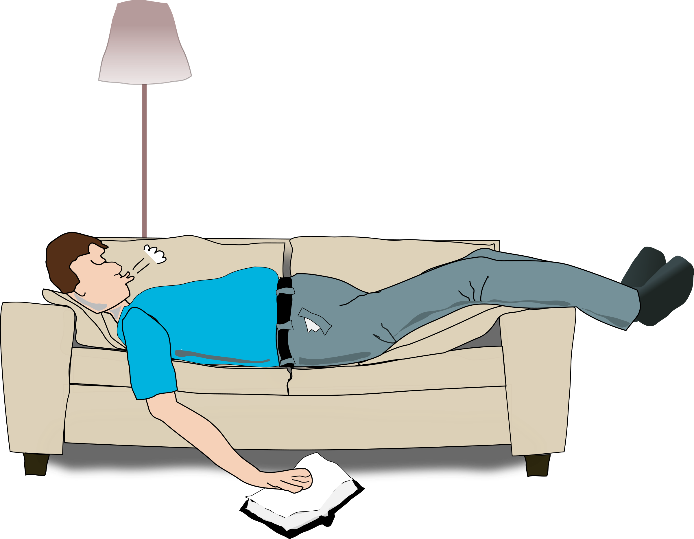 Man Sleeping on couch vector clipart.
