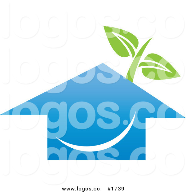 Royalty Free Design of a Happy Blue House with Green Leafs Logo by.
