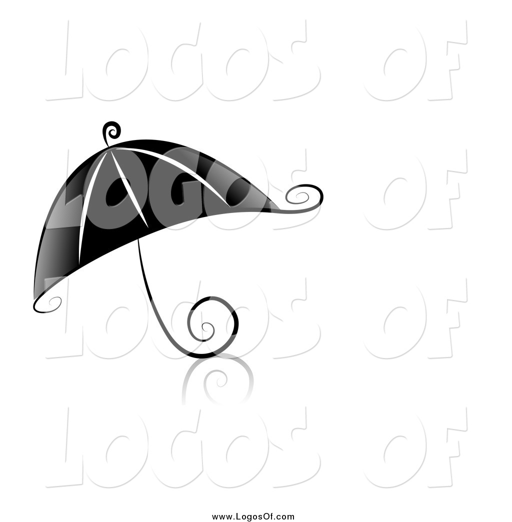 Vector Clipart of a Swirl Black and White Umbrella Logo by BNP.