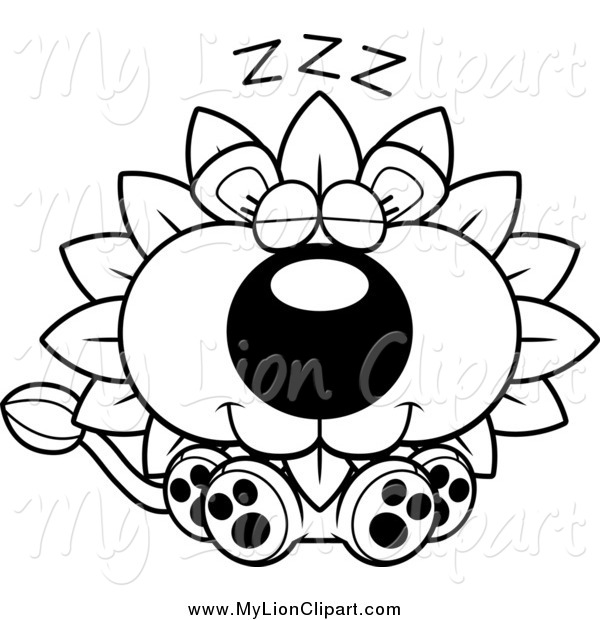 Clipart of a Black and White Snoozing Dandelion Flower Lion by.
