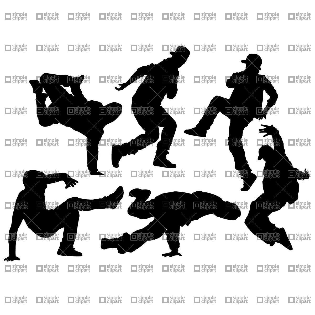 Hip Hop dancer silhouettes Vector Image #1761.