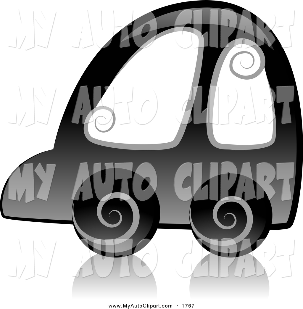 Clip Art of a Black Swirly Car Icon and Reflection by BNP Design.