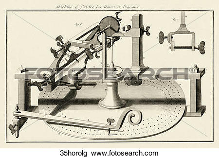 Clip Art of Antique Illustration (copper engraving) of a Machine.