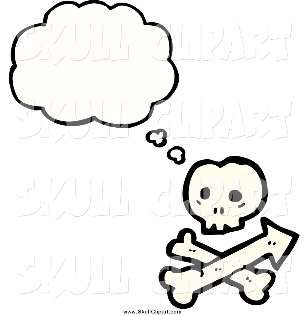 Vector Clip Art of a Thinking Skull and Crossbones by.