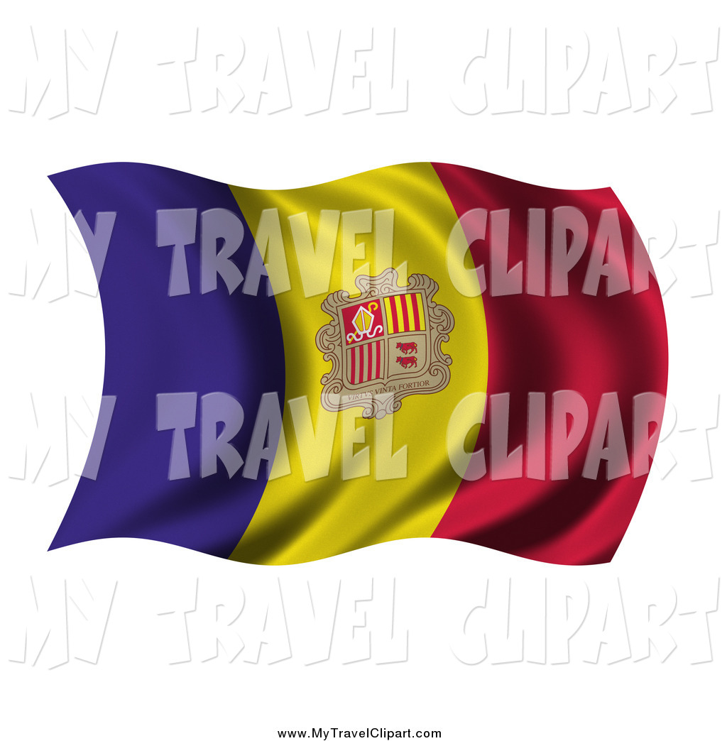 Clipart of a 3d Wavy Andorra Flag by stockillustrations.