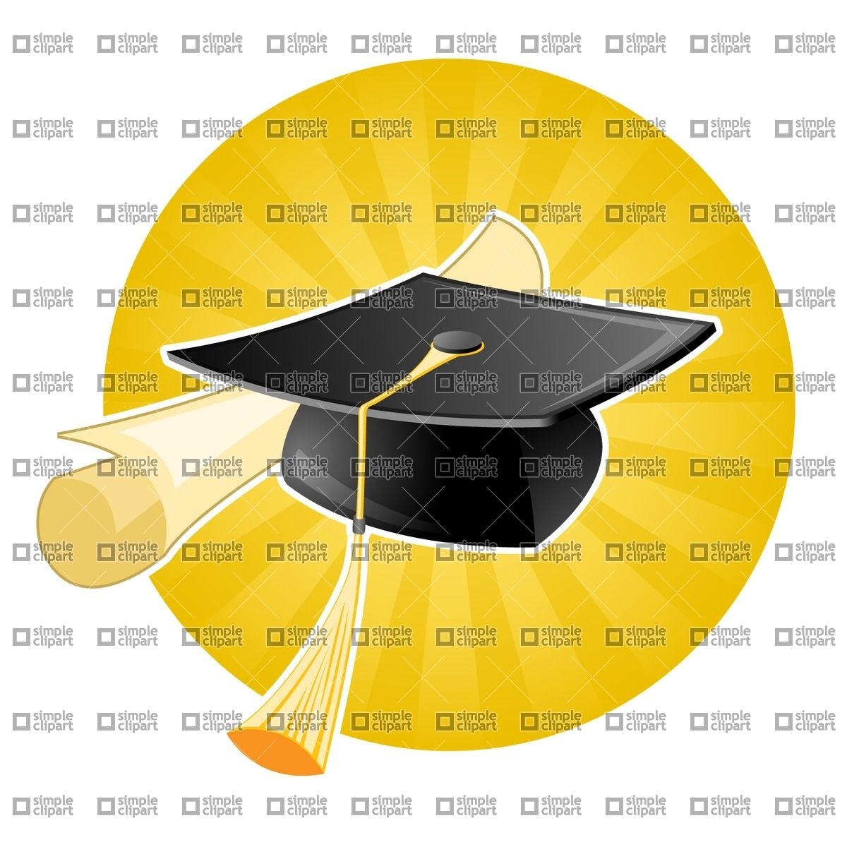 Graduation cap / Mortarboard and diploma Vector Image #1767.