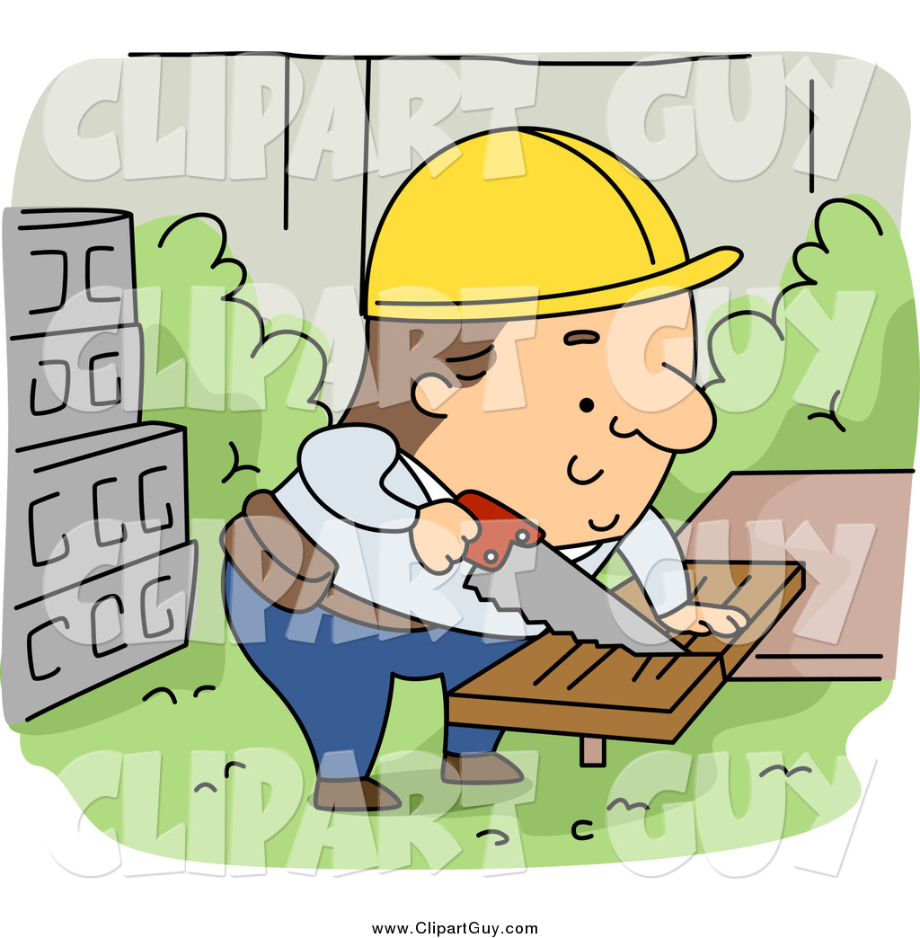 Clip Art of a Caucasian Contractor Builder Sawing Wood by BNP Design.