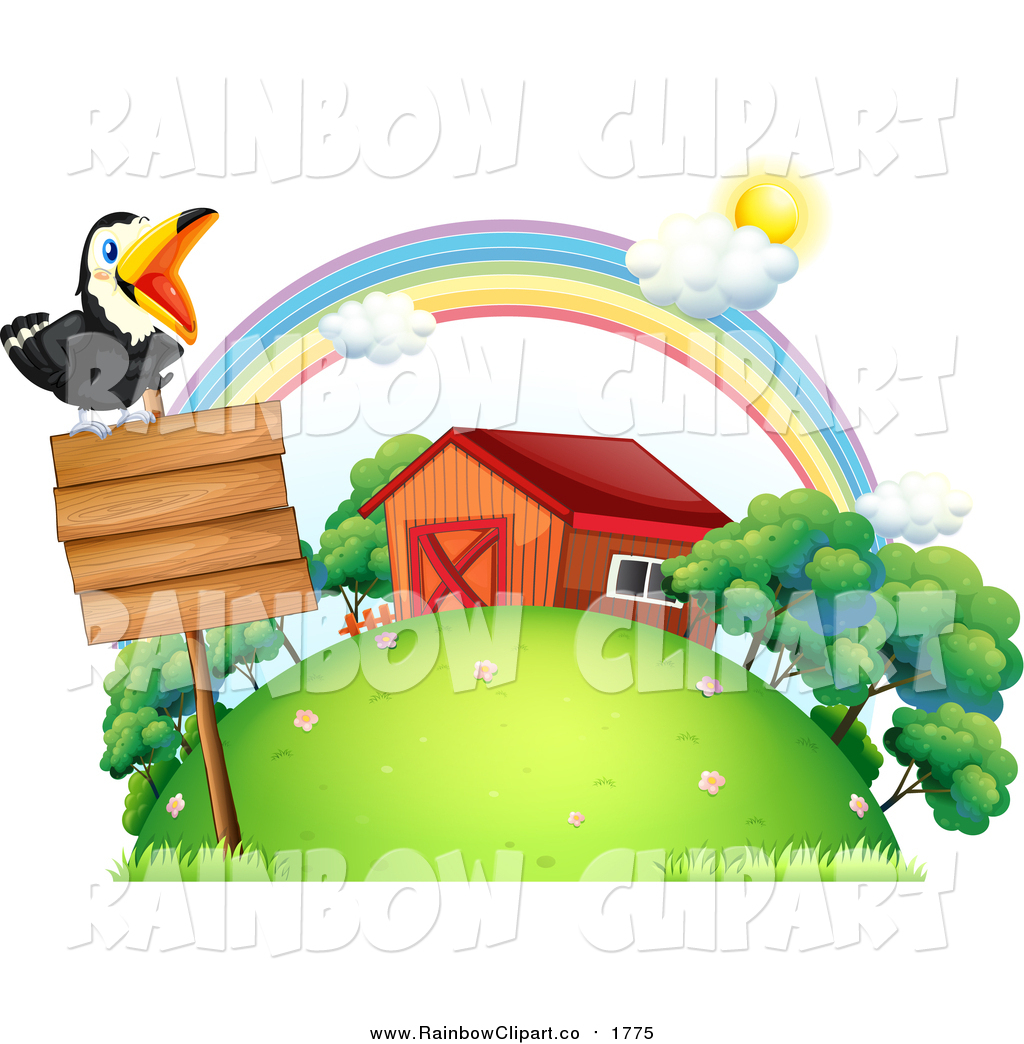 Vector Clip Art of a Toucan Bird on a Wod Sign by a Barn by.