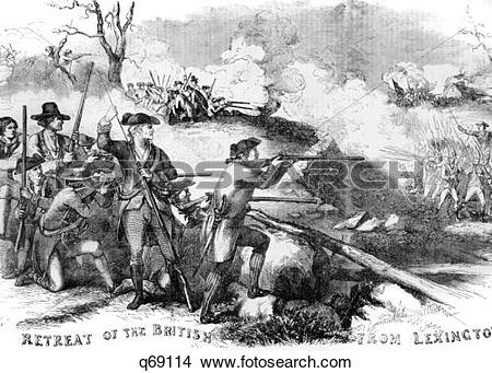 Stock Photo of April 18, 1775 The Retreat Of British From.