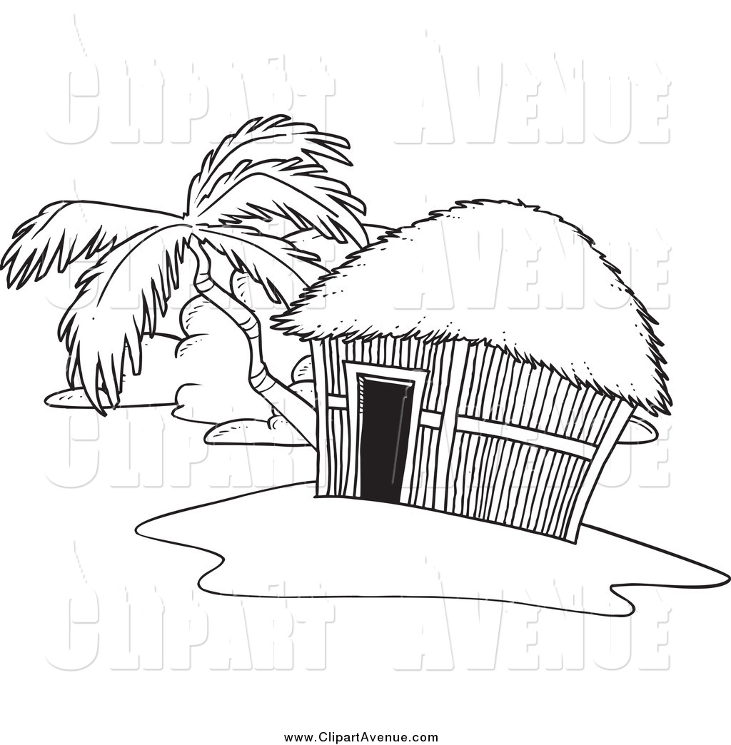 Avenue Clipart of a Black and White Tropical Hut on an Island by.