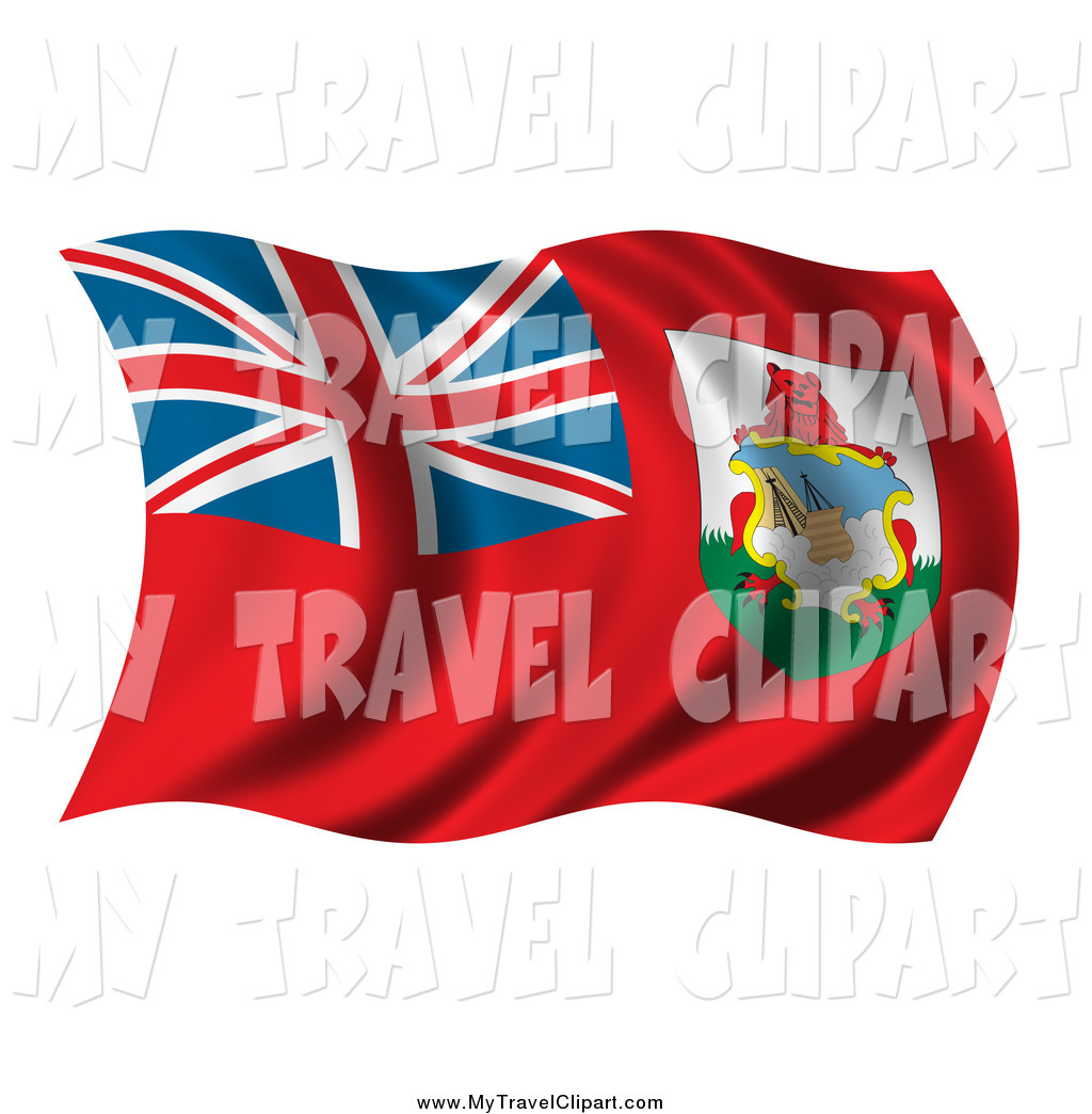 Clipart of a 3d Wavy Bermuda Flag by stockillustrations.