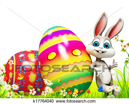 Easter bunny with big eggs Clipart.