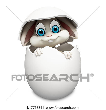 Bunny inside eggs Clip Art.