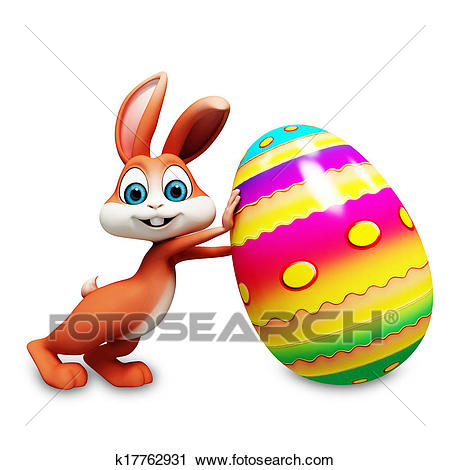 Easter bunny with big egg Clip Art.
