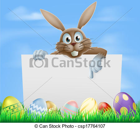 Easter bunny and eggs sign.