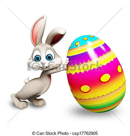 Easter bunny with egg.