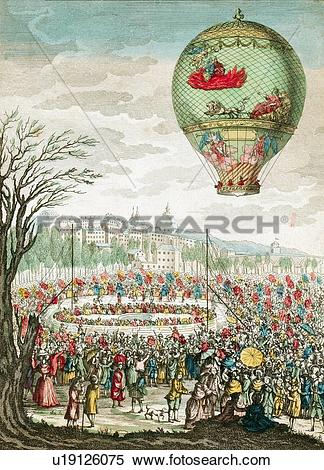 Stock Image of Early hot air balloon flight, 1784 u19126075.