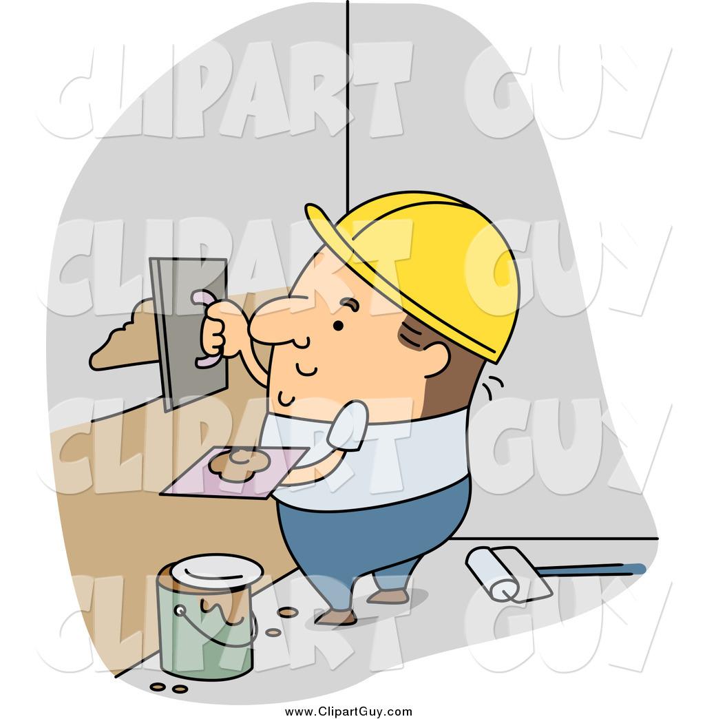 Clip Art of a White Male Builder Applying Plaster by BNP Design.