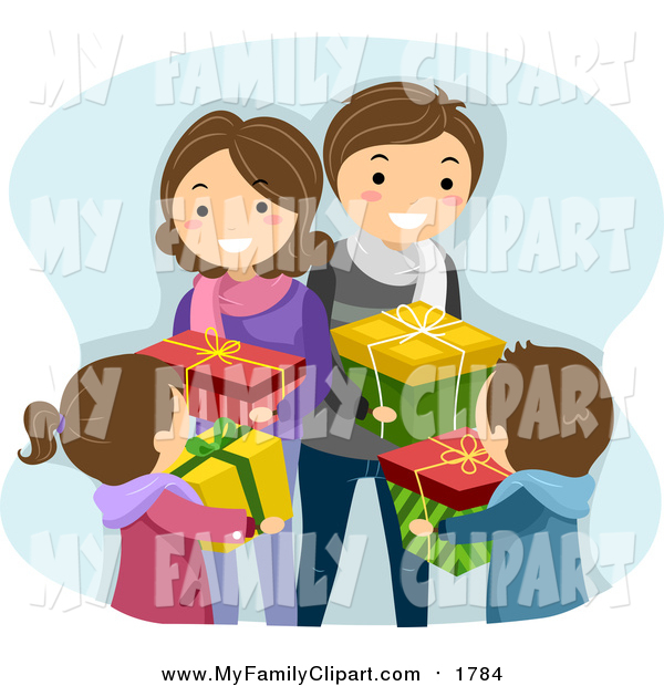 Clip Art of a Happy White Family Exchanging Christmas Gifts by BNP.