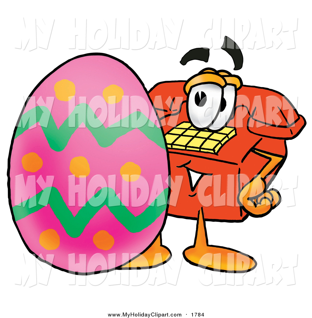 Clip Art of a Red Telephone with an Easter Egg by Toons4Biz.
