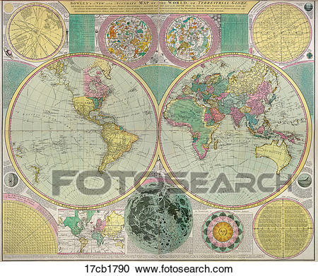 Stock Illustrations of Antique World Map (hand.