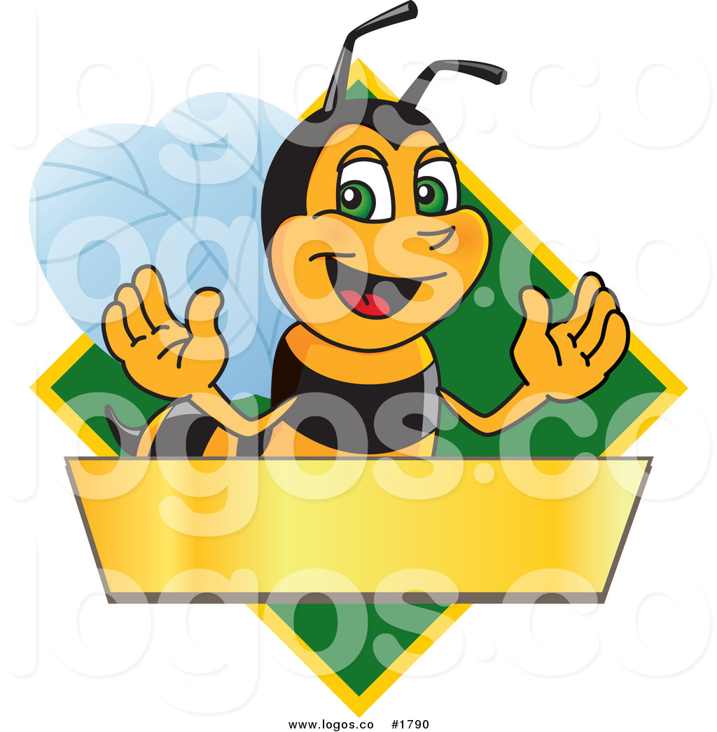 Royalty Free Vector Logo of a Cartoon Worker Bee Mascot over a.