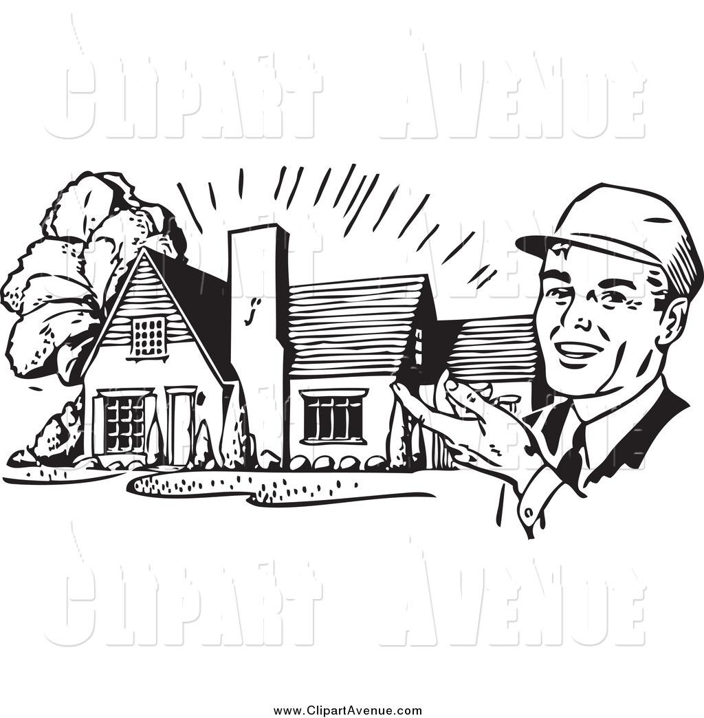 Avenue Clipart of a Retro Black and White Happy Male Architect.