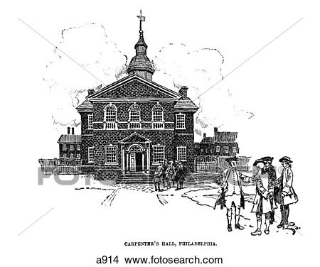 Stock Photo of 1700S 1770S Engraving Of Carpenters Hall.