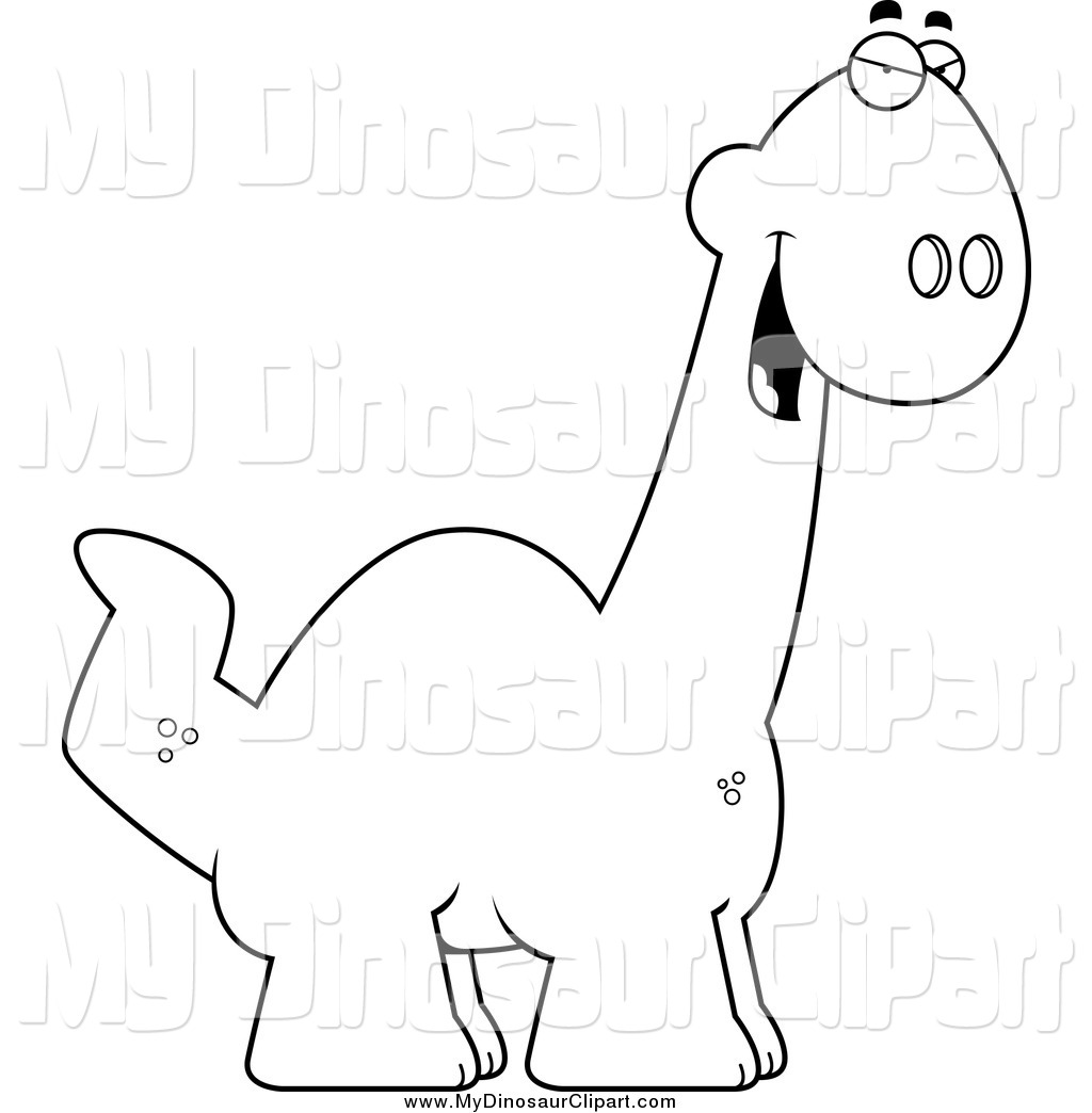 Clipart of a Black and White Sly Apatosaurus Dino by Cory Thoman.