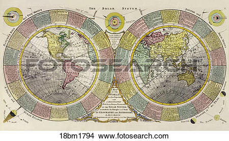 Drawings of Antique World Map (hand.