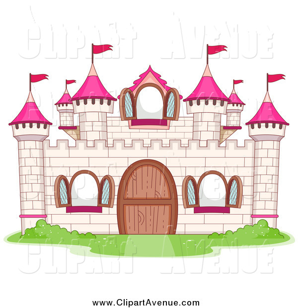 Avenue Clipart of a White and Pink Castle by BNP Design Studio.