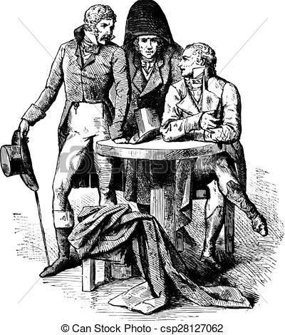 Clip Art Vector of Men suit in 1798, vintage engraving..