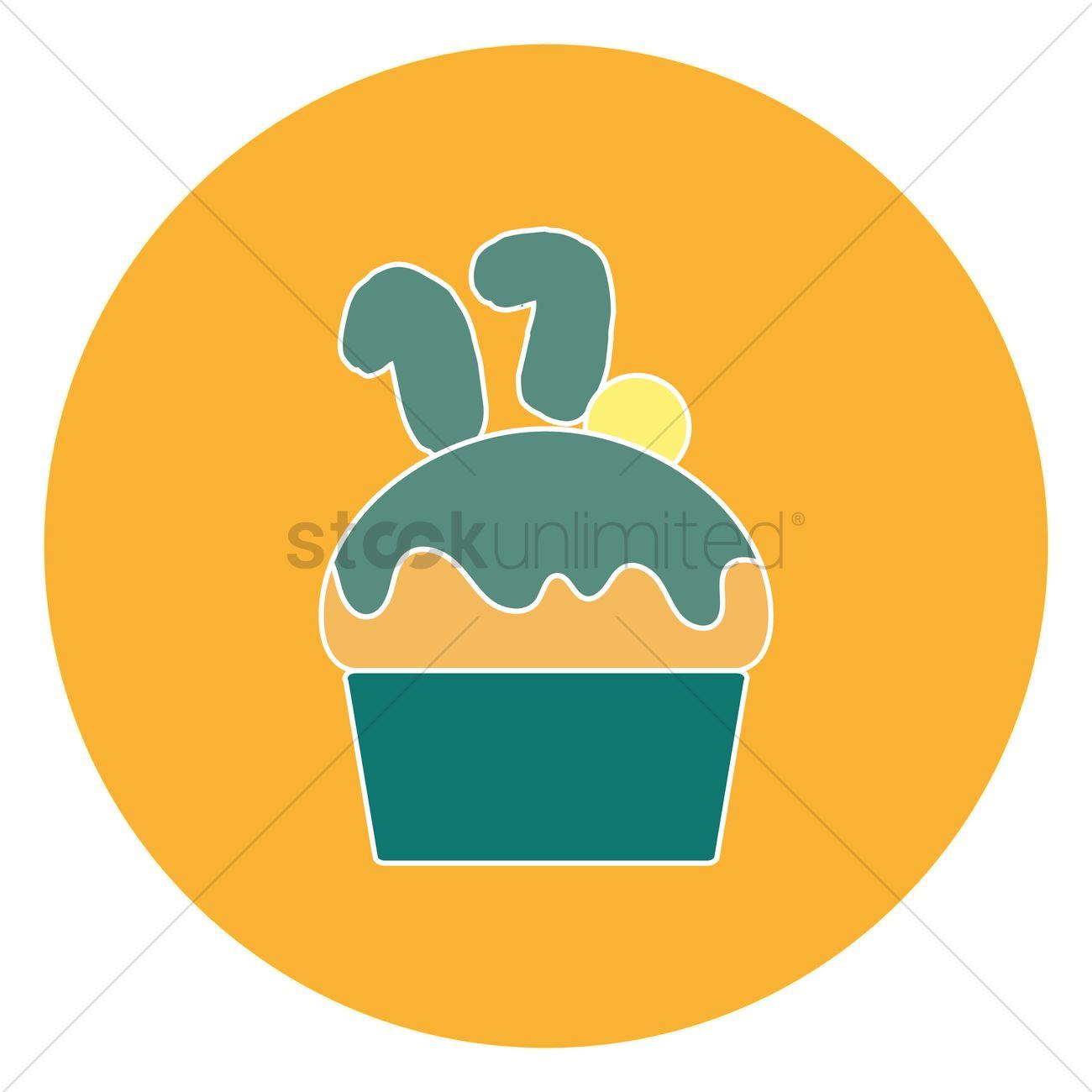 Free 17th birthday cupcake Vector Image.
