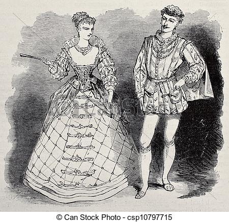 Clipart of Aristocratic costumes.