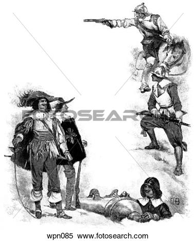Clipart of Oliver Cromwell in 17th Century wpn201.
