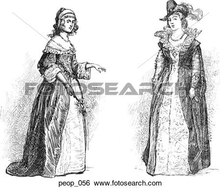 Stock Illustration of Costumes of the mid 17th century (female.