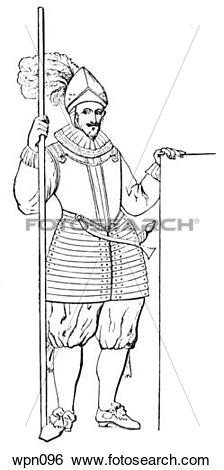 Stock Illustration of Pikeman, early 17th century wpn096.